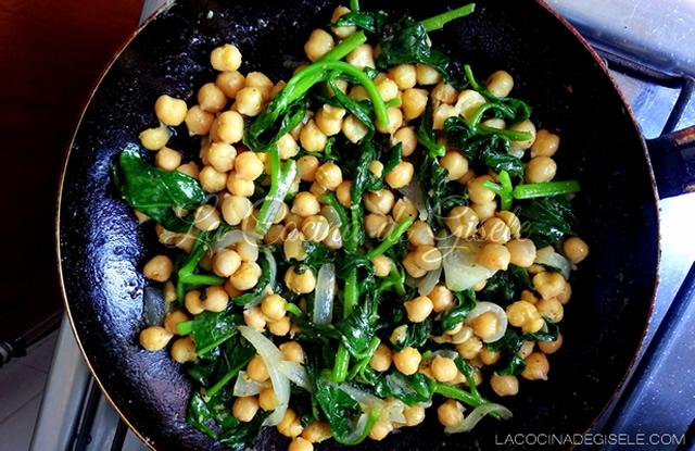 receta de garbanzos con espinaca