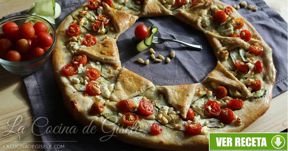 receta pizza corona de vegetales
